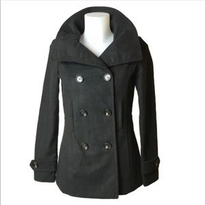 Thread & Supply Wool Blend Black Pea Coat Size XS